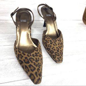 Stuart Weitzman women leopard slingback heels/8.5B